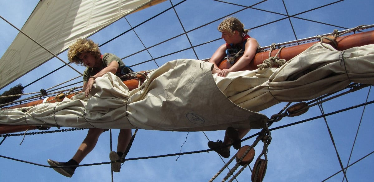 Atlantic sailing crossing _Another World Adventures_on the rigging