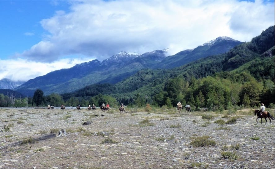 Horse riding across the Andes - the Puelo Ride_Ventisqueros river bed_VEN106