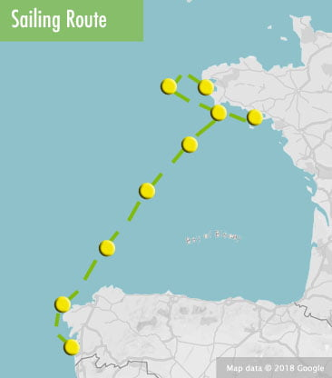 Sailing holiday Bay of Biscay route map
