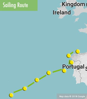 azores to coruna route map