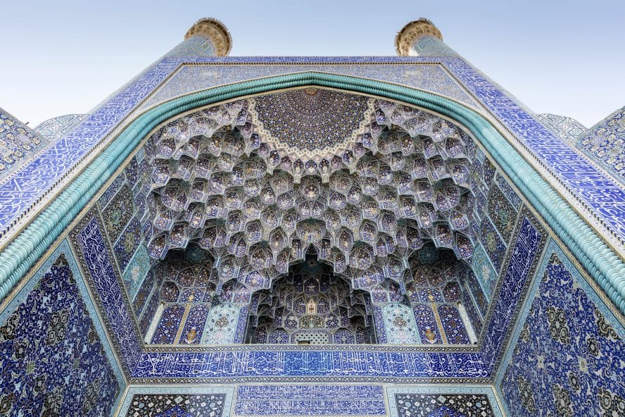 Minarets, pishtek, and pendentive decorated arch, Emam Mosque, Isfahan, Iran