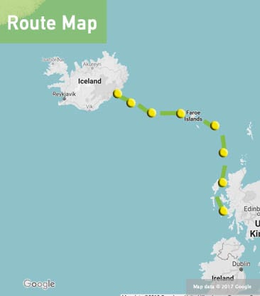 scotland iceland sailing route map