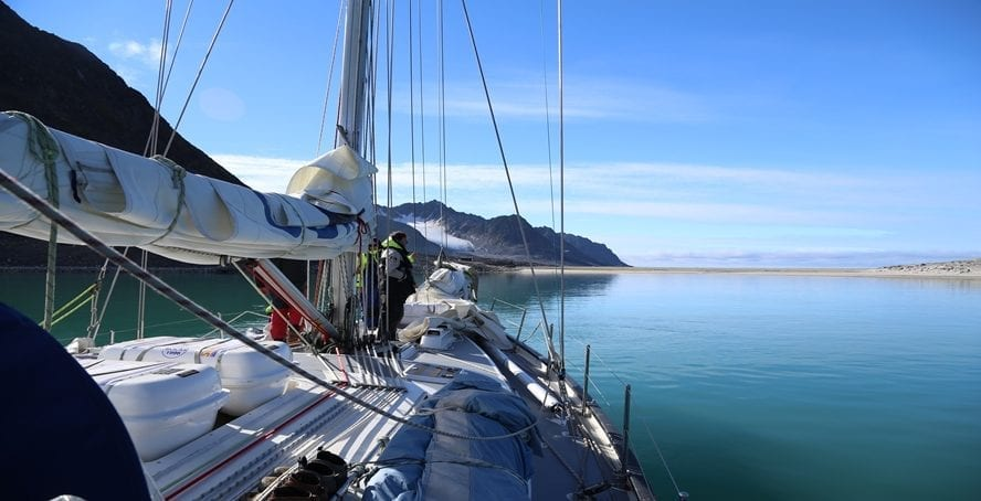 Bow of Hummigbird from on board in Spitsbergen
