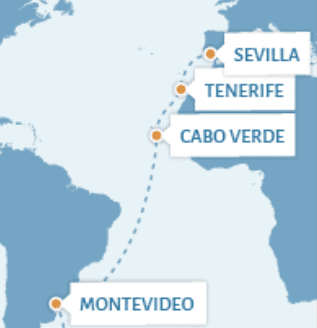 Combination voyage from Sevilla to Montevideo_map