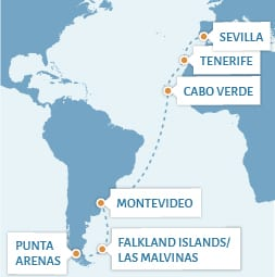 Combination voyage from Sevilla to Punta Arenas_map