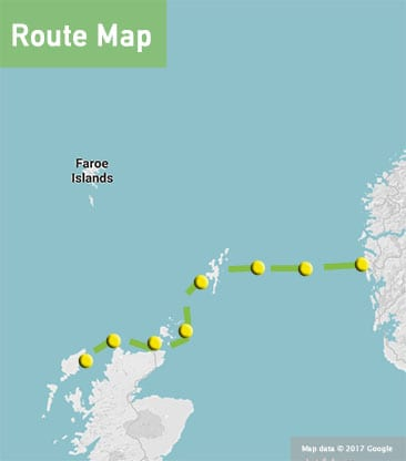 norway to scotland sailing route map
