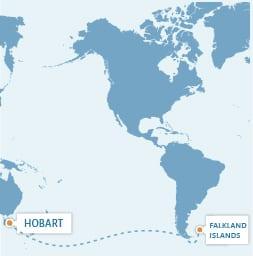 Hobart – Falkland Islands (via Kaap Hoorn)