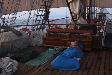 Pacific Voyage_sleeping on deck